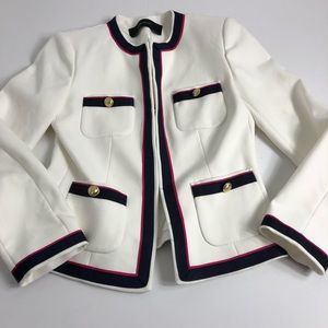 Zara Basic White Nautical Inspired Jacket XS